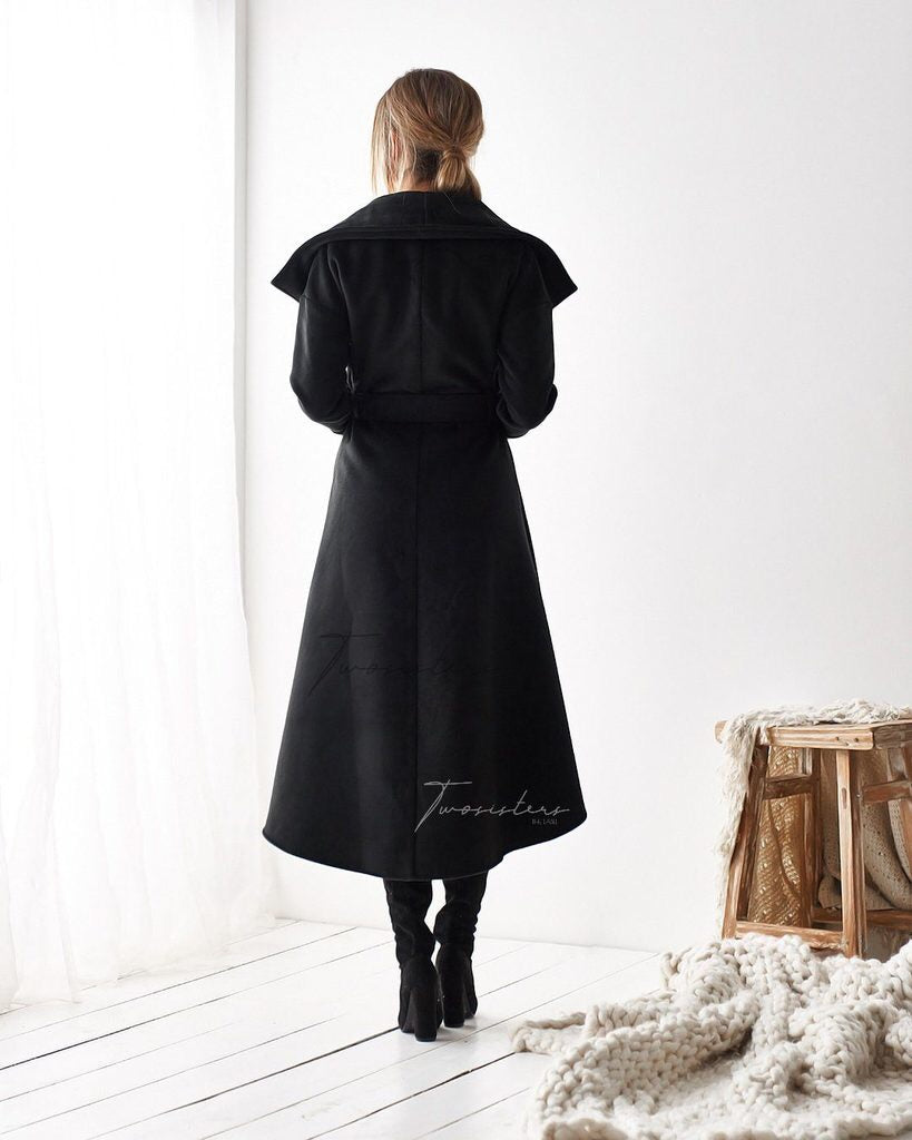 Merly High Low Coat- Black