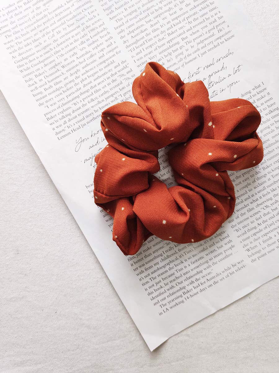 Rusty Polka Dot Scrunchie