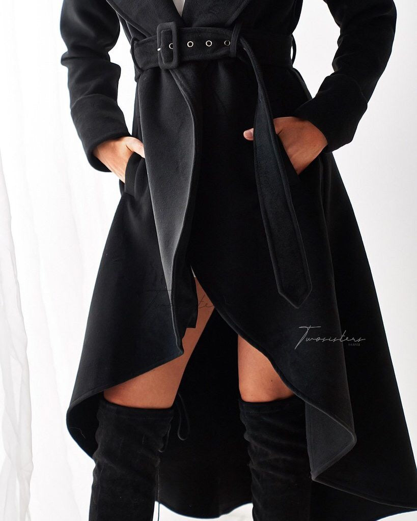 Merly High Low Coat- Black LATE MAY/ EARLY JUNE PRE ORDER