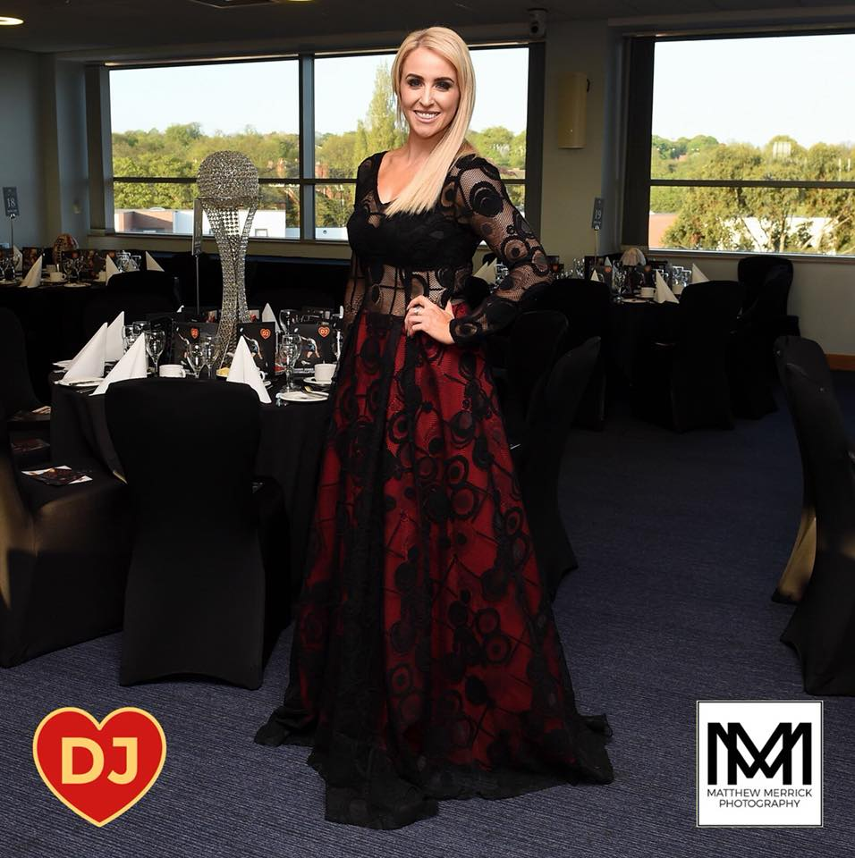Lizzie Jones wears bespoke James Steward for Danny Jones Defibrillator Ball