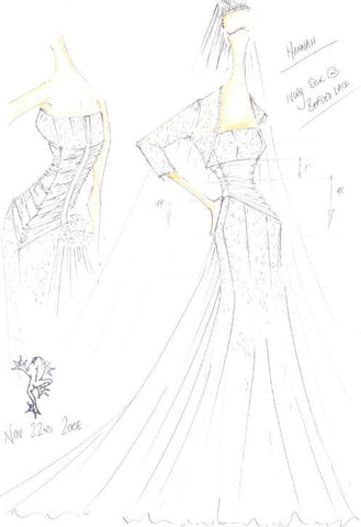 Corseted Silk Wedding dress - James Steward sketch