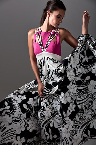 James Steward bespoke dress - pink bodice, floral black and white skirt
