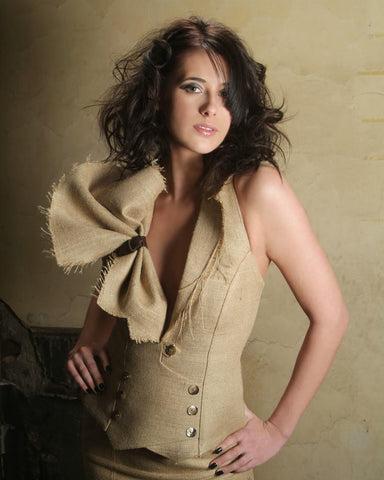 James Steward Couture Hessian Sack Cloth collection - bodice