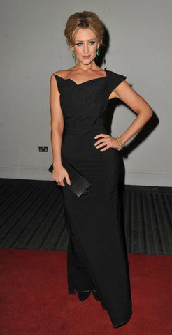 Catherine Tyldesley wearing a fitted black James Steward dress