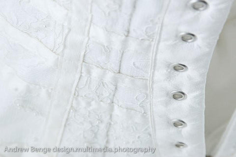 Coronation Street wedding Molly dress designed by James Steward - lacing holes