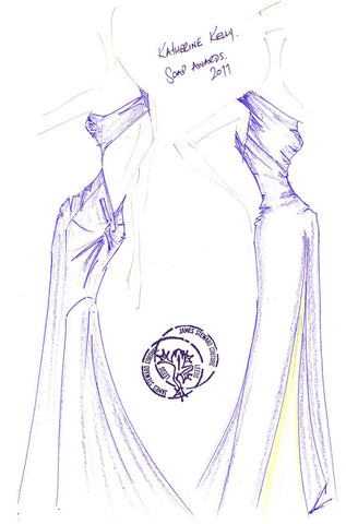 James Stewards sketch of Katherine Kellys dress at the 2011 Britsh Soap Awards