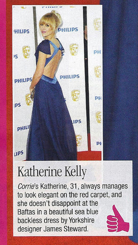 Katherine Kellys 2011 BAFTA dress by James Steward - press coverage New