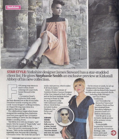 Katherine Kellys 2011 BAFTA dress by James Steward - press coverage Yorkshire Post