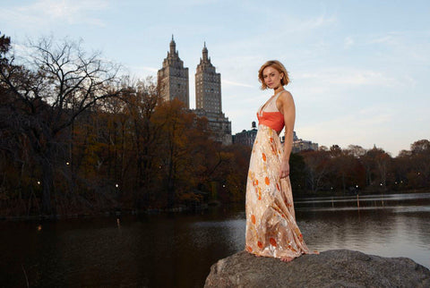 Katherine Kelly in Central Park New York wearing a James Steward dress