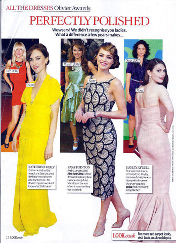 Katherine Kellys 2012 Olivier Awards dress by James Steward Couture press coverage