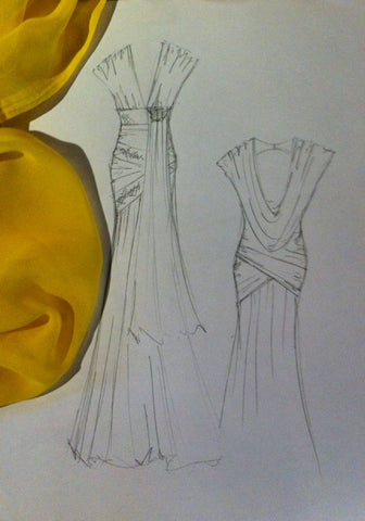 James Steward sketch of Katherine Kellys dress for the 2012 Olivier Awards