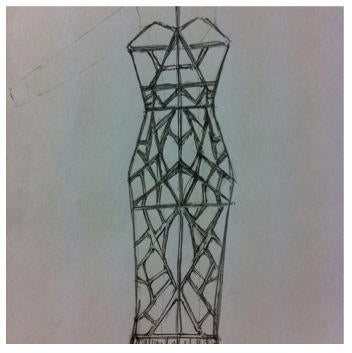 Butterfly wing inspired James Steward dress - sketch
