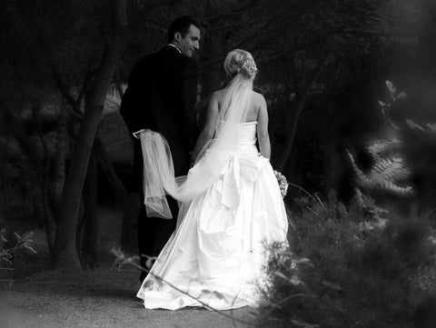 James Steward wedding dresses - Zoe & Groom (b&w)