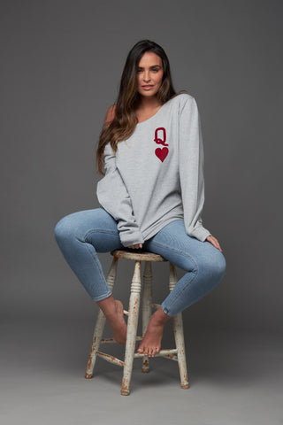 Queen of Hearts Oversized Grey Sweatshirt