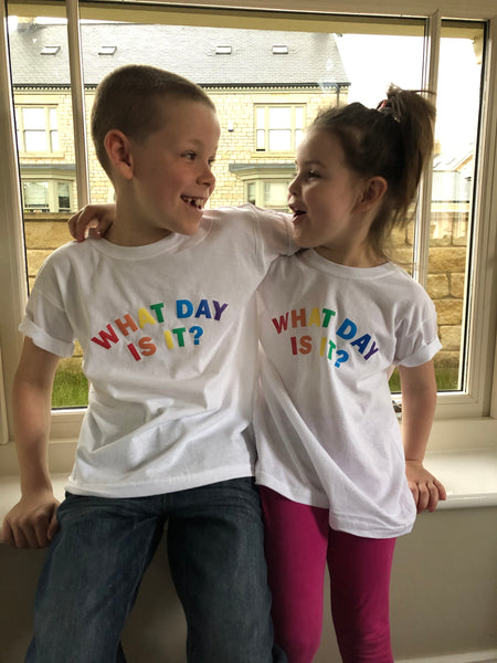 Kids 'WHAT DAY IS IT?' T shirt