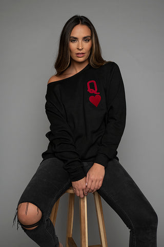 Queen of Hearts Black & Red Oversized Sweatshirt