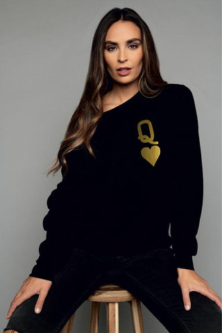 Queen of Hearts Black & Gold Oversized Sweatshirt