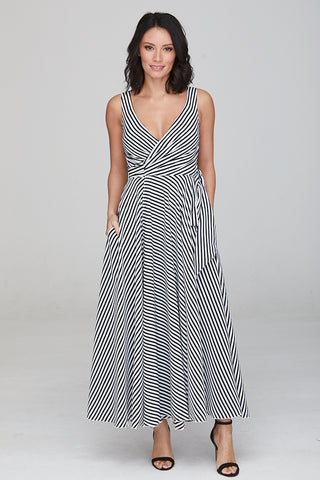 Kelly Striped Wrap Dress