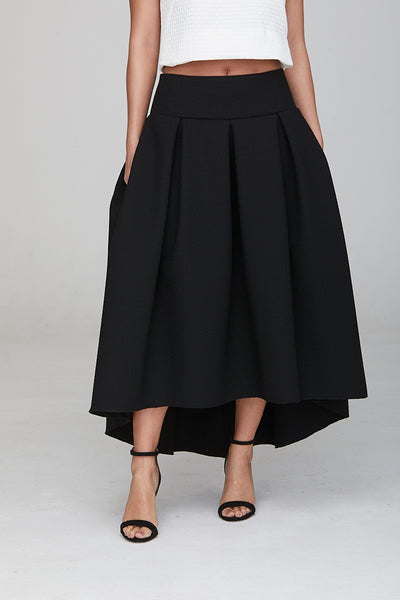 High Waisted Madison Dip Hem Skirt