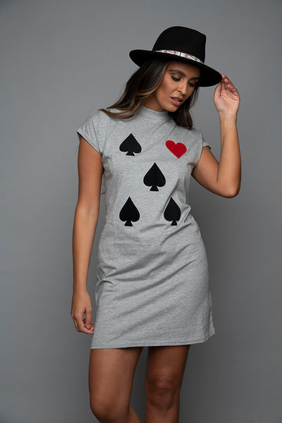 Heart & Spades High Collared Casual Dress
