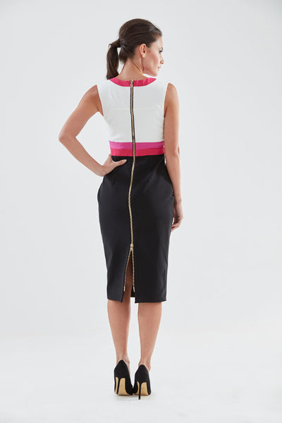 Cuckoo Pencil Dress (pink/magenta - back) from the James Steward Ready-to-Wear collection