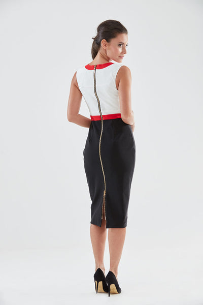 Cuckoo Pencil Dress (red - back) from the James Steward Ready-to-Wear collection