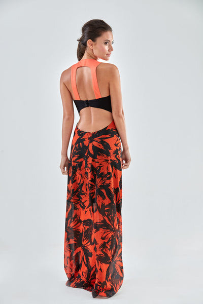 Denbigh Maxi Dress (orange, backview) from the James Steward Ready-to-Wear collection
