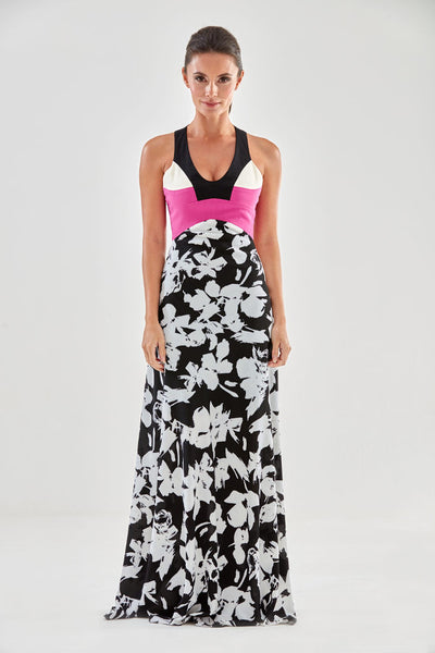 Denbigh Maxi Dress (pink, ivory) from the James Steward Ready-to-Wear collection