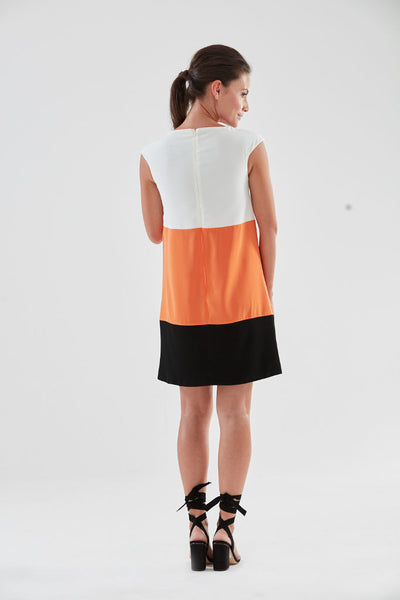 Miami Shift Dress (orange, back) from the James Steward Ready-to-Wear collection