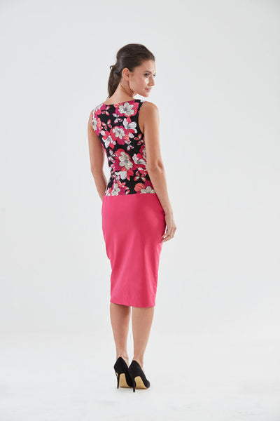 Northcott Pencil Dress (pink/black - back) from the James Steward Ready-to-Wear collection