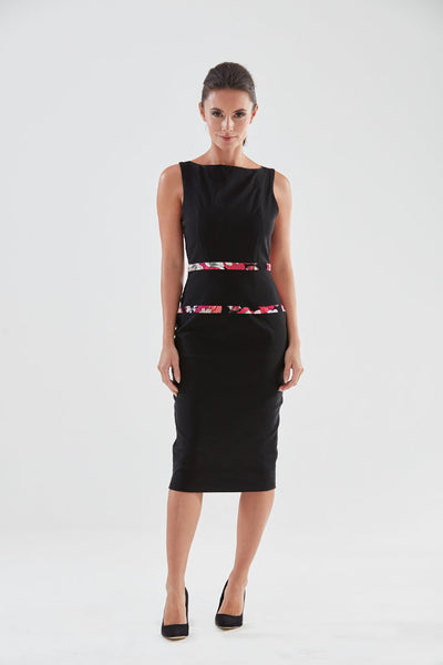 Northcott Pencil Dress (black/pink) from the James Steward Ready-to-Wear collection