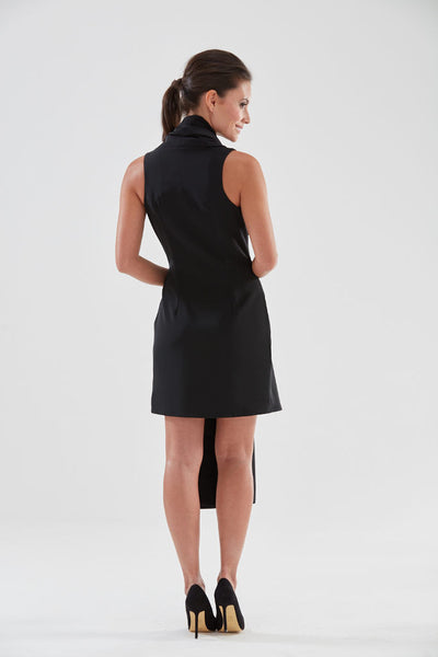 Scarf Front Pencil Dress (black - back) from the James Steward Ready-to-Wear collection