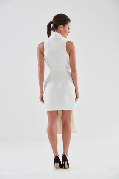 Scarf Front Pencil Dress (cream - back) from the James Steward Ready-to-Wear collection