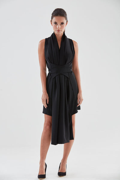 Scarf Front Pencil Dress (black) from the James Steward Ready-to-Wear collection