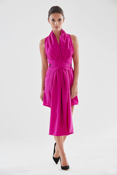 Scarf Front Pencil Dress (magenta) from the James Steward Ready-to-Wear collection