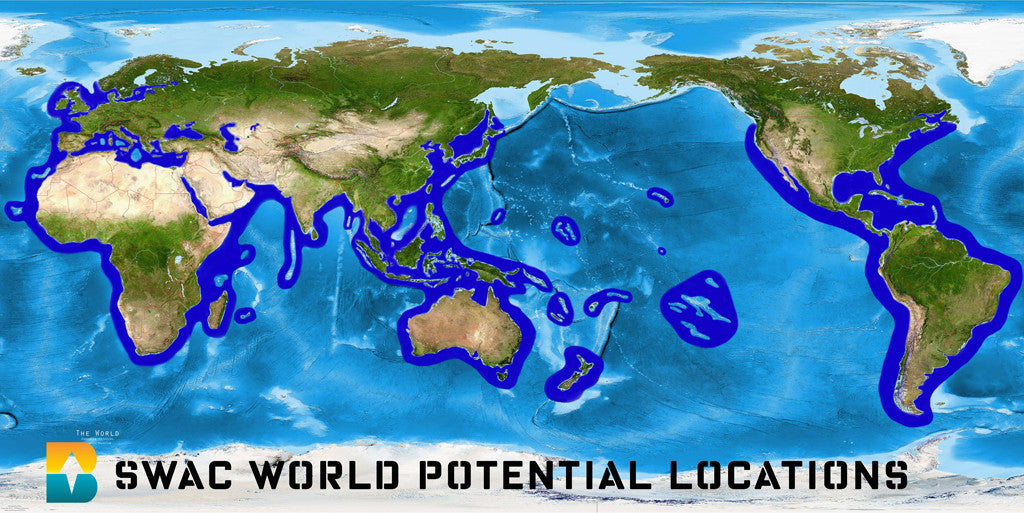 swac map potential locations Bardot Ocean energy sea water air conditioning