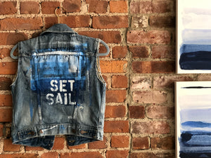 SET SAIL DENIM VEST - SMALL