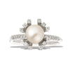 White gold pearl engagement ring - 5