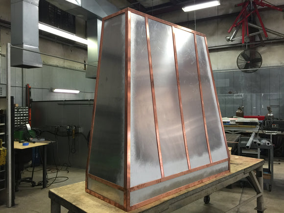 custom stainless steel range hood with copper stapping