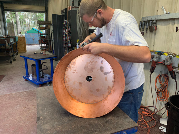 Custom copper bath sink circular