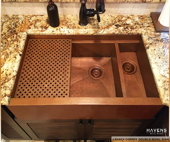 Double bowl copper farmhouse sink with a large 70/30 bowl split. The 36 inch copper farmhouse sink.