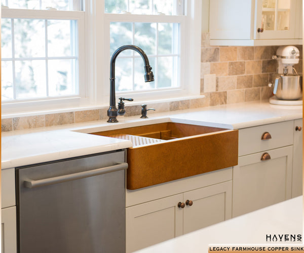 Copper stainless sink gallery installed in kitchens havens metal 14 gaue copper farmhouse sink with a smooth apron front panel undermount installation workwithnaturefo