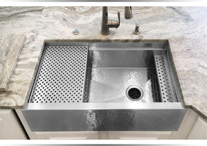 Under mount stainless steel kitchen sinks made in USA in smooth and hammered.