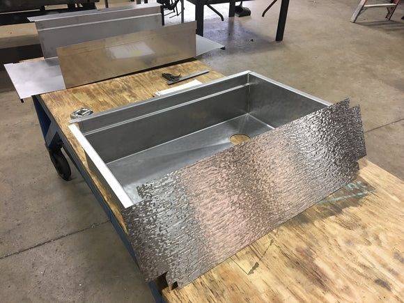 custom sink fabrication - apron front sink welded on