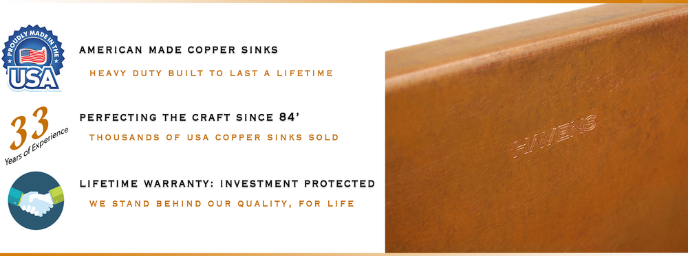 Undermount copper sinks by Havens, handcrafting since 1984.