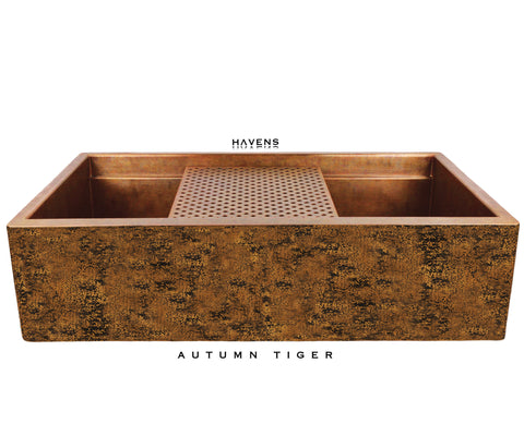 Autumn tiger copper farm sink artwork selection by Havens.