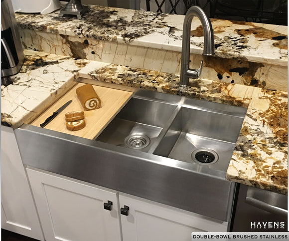 Stainless Steel Custom Farmhouse Double Bowl Sink With A Built In Ledge And  Cutting Board.