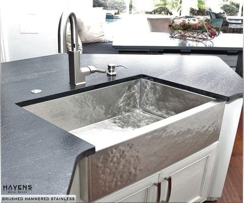 Elegant Custom Hammered Stainless Steel Farmhouse Sink With A Prominent Apron  Front, Handcrafted In The USA ...