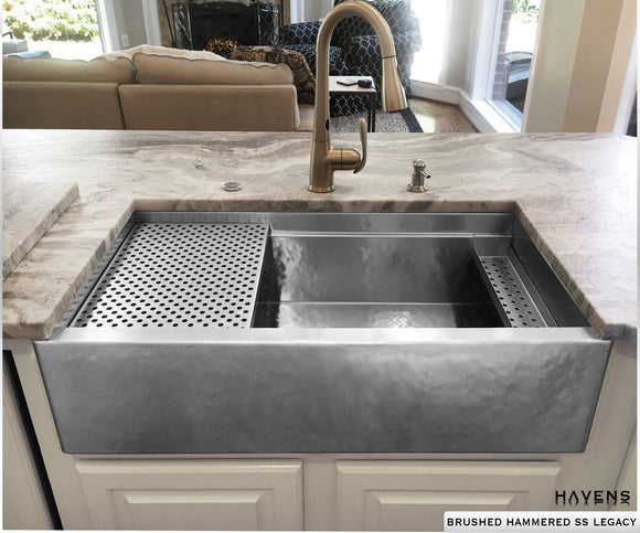 Copper and stainless steel farmhouse sinks havens metal brushed hammered stainless steel farmhouse sink with a built in ledge for advanced kitchen functionality workwithnaturefo