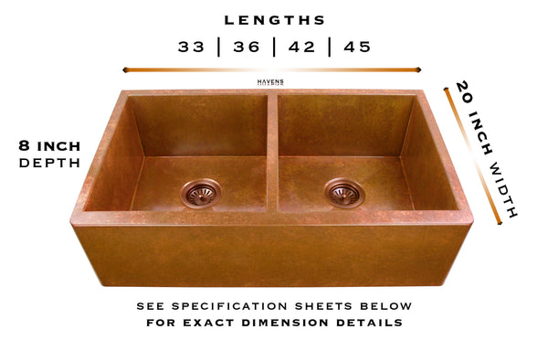Caliber copper farmhouse sink specs